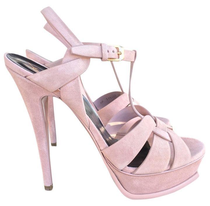 YSL SAINT LAURENT TRIBUTE PLATFORM 105 LIGHT PALE PINK SUEDE PUMP SHOES |  Shoe Game | Pinterest | Pale pink, Ysl and St laurent