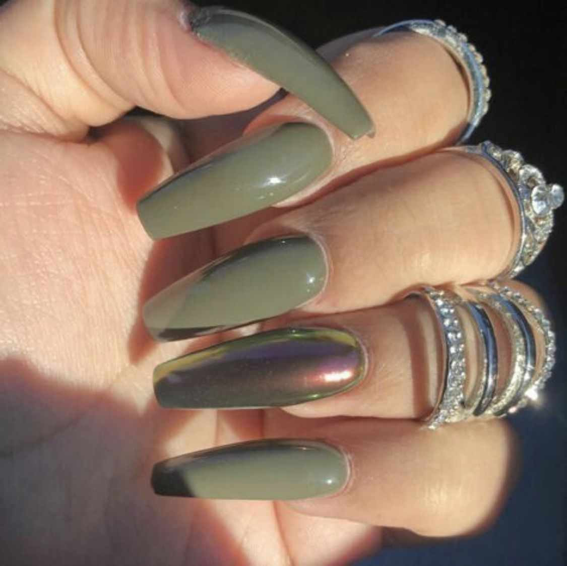 Army Green Coffin Nail With Metallic , Long For Fall. Nail