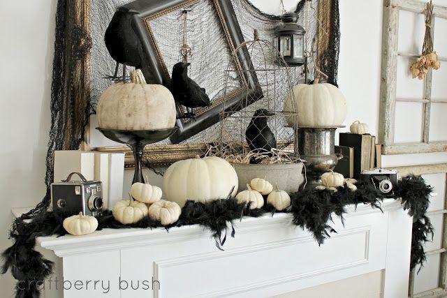 Black  White Vintage Inspired Halloween Decoration Halloween