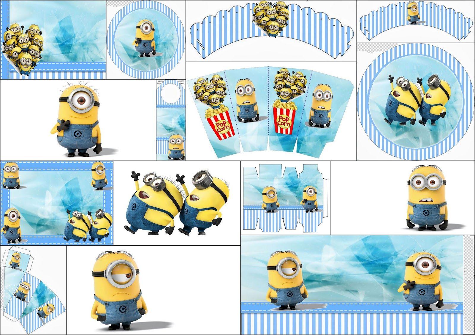 Minions On Blue Background Free Printable Mini Kit Minion