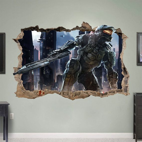 Best Halo 4 5 Master Chief 3D Wall Sticker Smashed Bedroom Kids 400 x 300