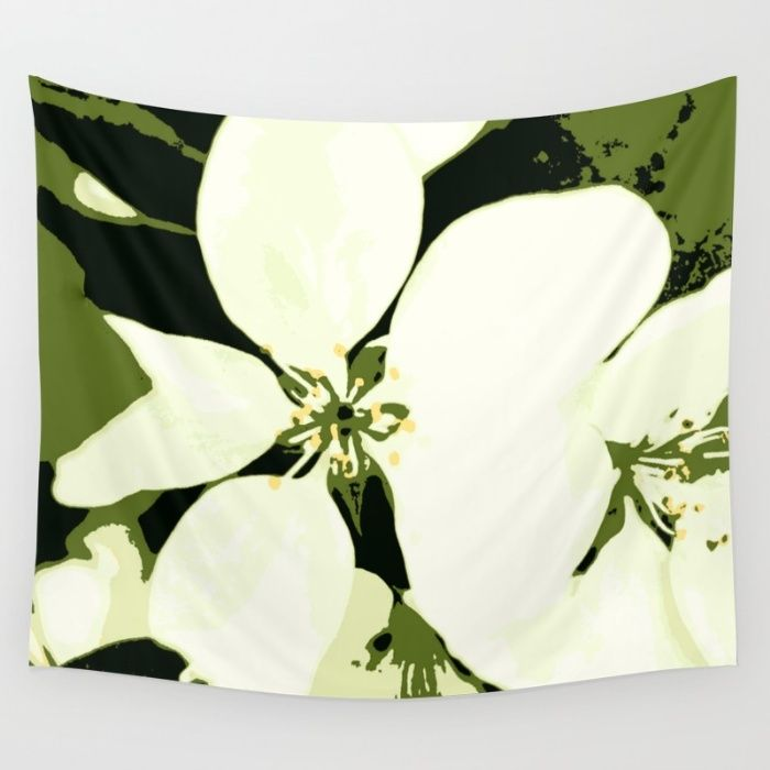 Flora White and Green Wall Tapestry