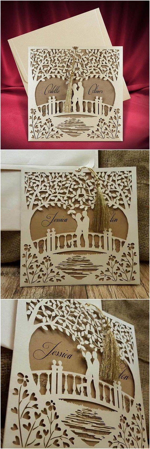 Romantic Laser Cut Wedding Invitation with Couple