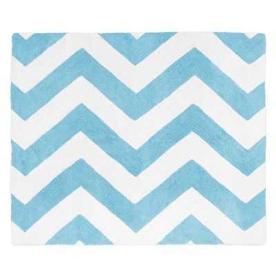 Sweet Jojo Designs Chevron Turquoise / White Area Rug