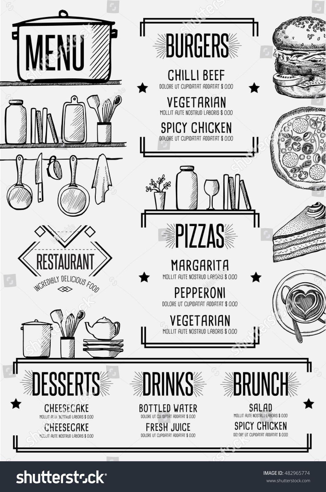 restaurant menu placemat food brochure cafe template design