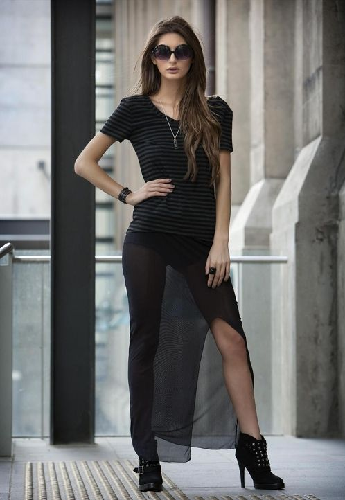 Street casual    Mesh Pencil Skirt - 63 AUD  Long mesh pencil skirt, split front. Nylon   Cityblis - Be Unique
