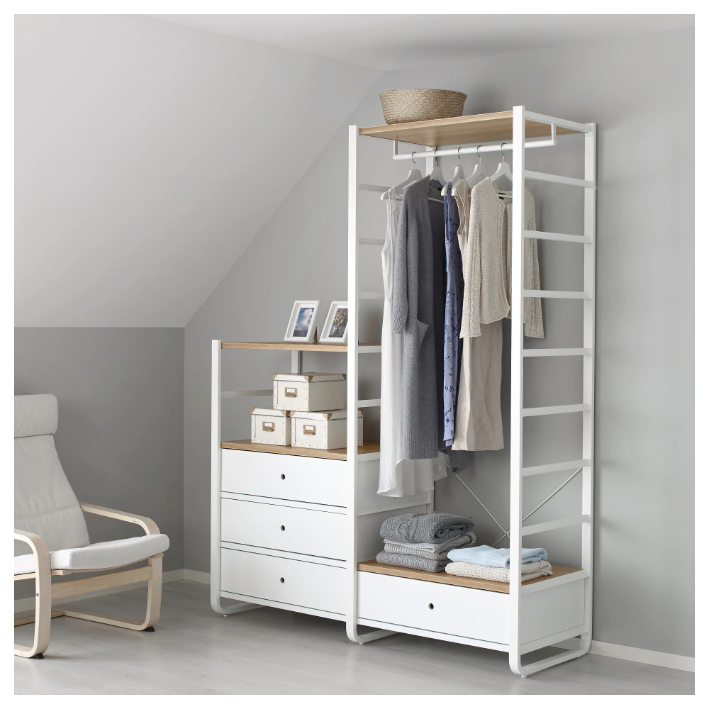 ELVARLI 2 sections, blanc, bambou, 165x55x216 cm - IKEA en 2020 | Rangement ouvert, Rangement ...