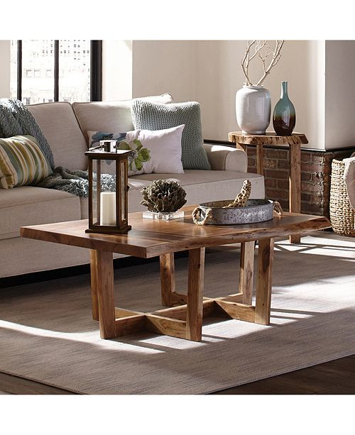 Alaterre Furniture Berkshire Natural Live Edge Wood Large Coffee