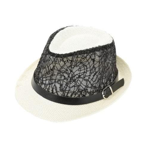 592091c75b0 Baby Kids ·  TomTop -  TomTop Fashion Boy Girl Straw Hat Sequins Sheer Mesh  Belt Fedora Curly