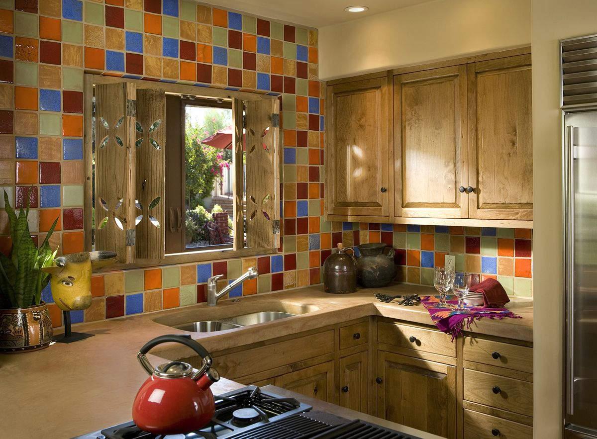 bright vivid and square backsplash orange green brown wood