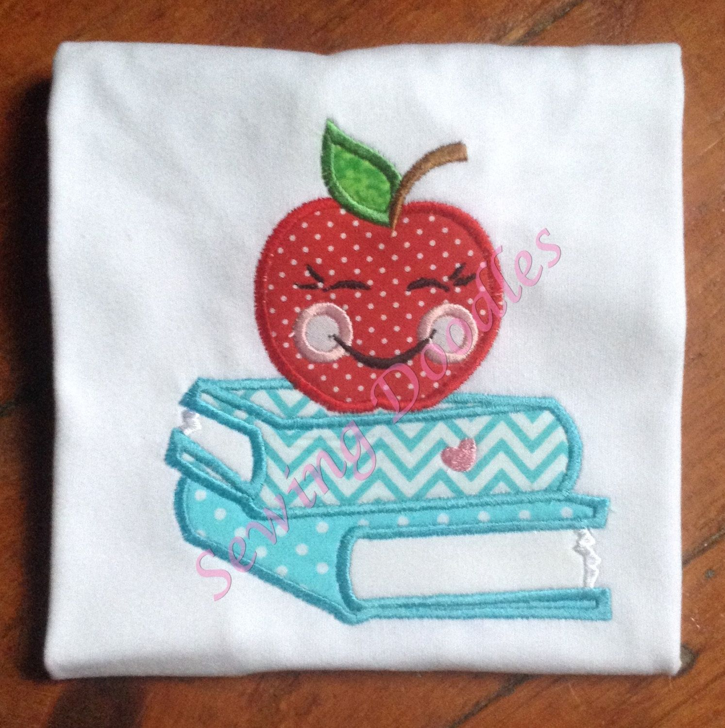 Back to School Apple on Books Applique T-shirt by SewingDoodles on Etsy