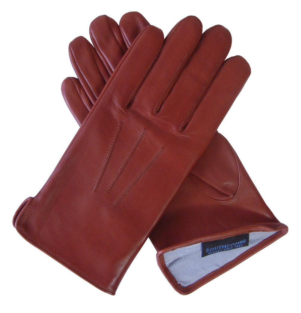 Men's Silk Lined Tan Leather Glove from Southcombe Gloves