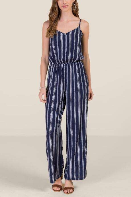 b67d10e2dd13 francesca s Leila Striped Jumpsuit - Navy