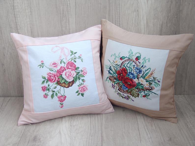 Bluch Victorian style embroidery PILLOW COVERS set of 2, Light pink floral needlepoint cushion covers Romantic shabby chic throw pillowcases