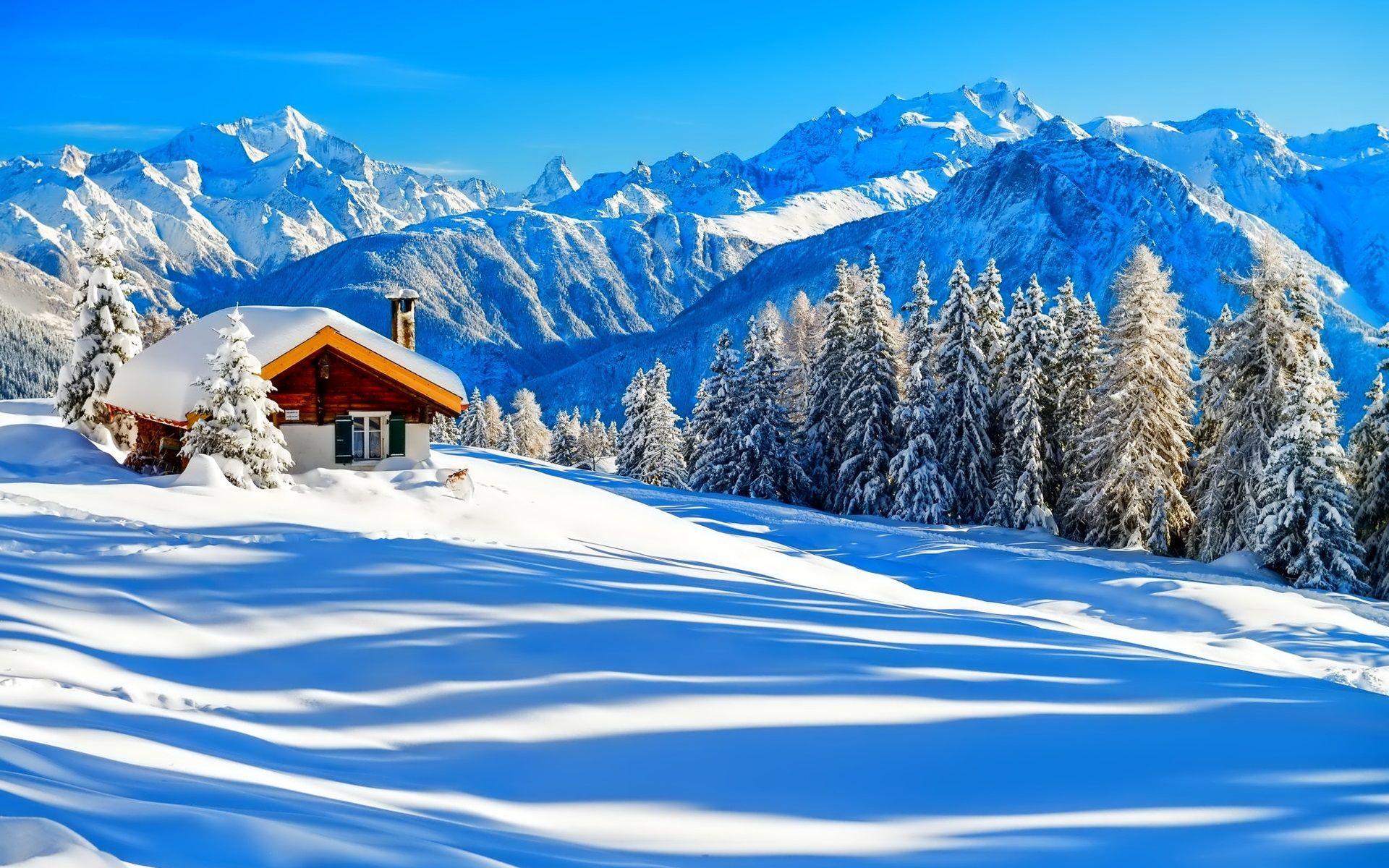Hiver Neige Maison Arbres Nature Foret Montagnes Ciel