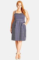 City Chic 'Linger' Stripe Dress (Plus Size)