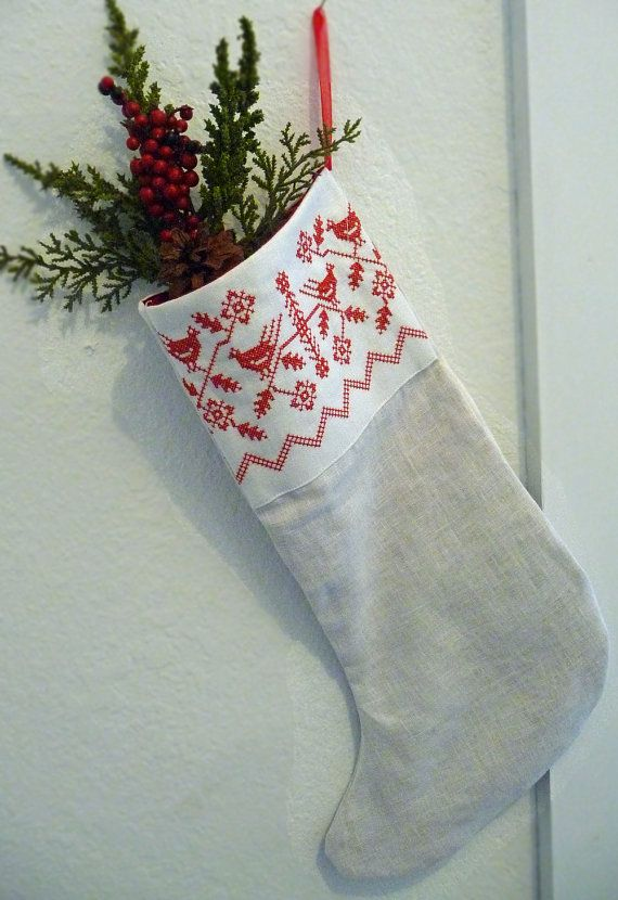 Nordic Redwork Linen Christmas Stocking Inspiration For Machine Embroidered Stocking Linen Christmas Stocking Christmas Stockings Christmas Crafts