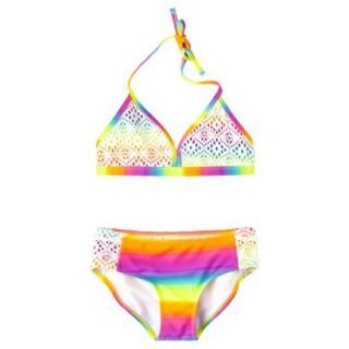 Xhilaration Girls 2 Piece Tie Dye Halter Bikini Swimsuit Set   Rainbow L