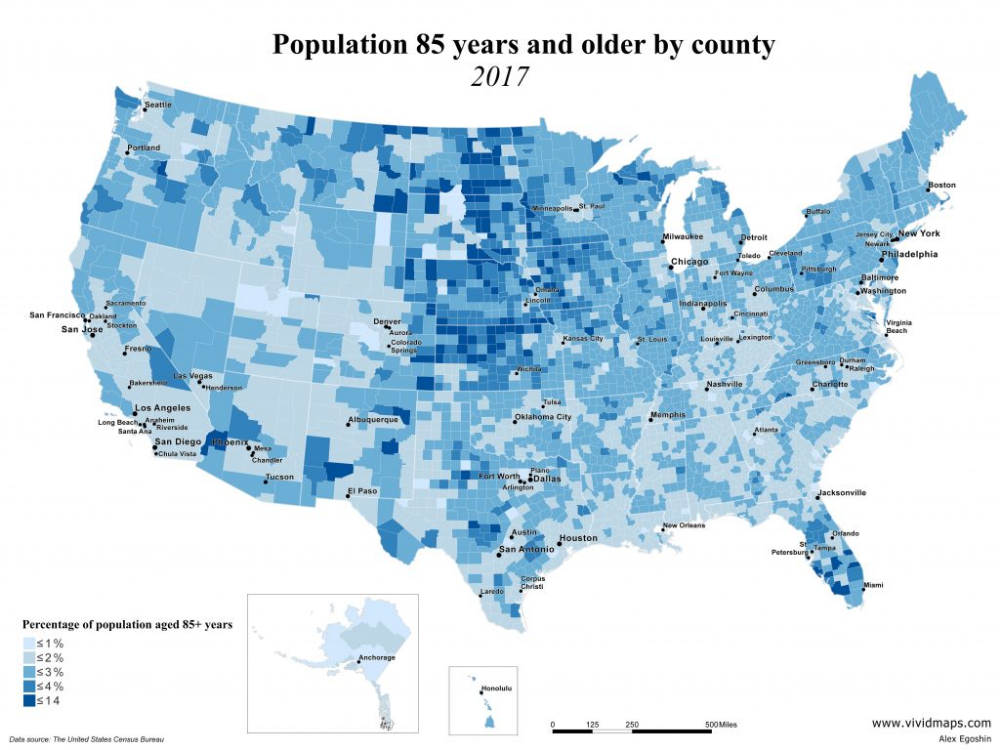 The Oldest County Populations In The U S 2000 2017 Vivid Maps Old Things Usa Map County