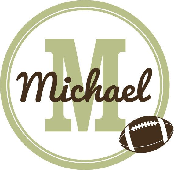 Personalized Football Wall Decal N21- Sports Theme Initial & Name ...