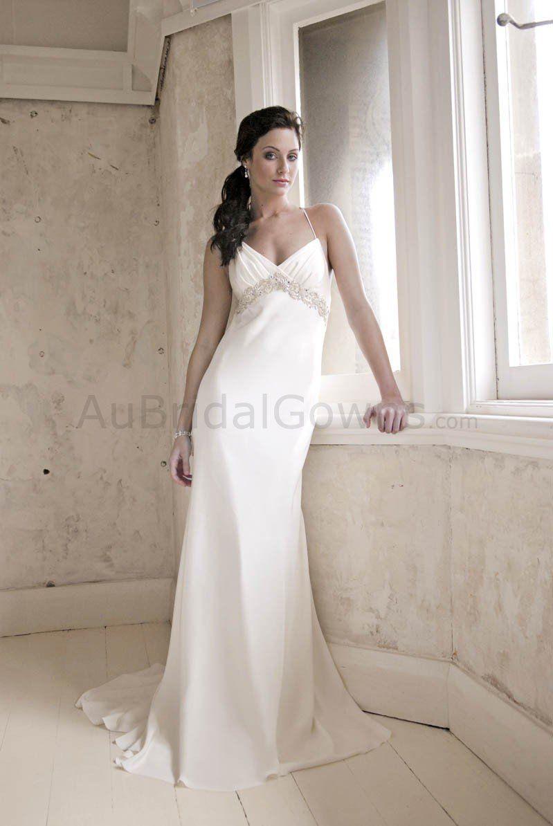 Silk Spaghetti Straps Sheath Wedding Dress