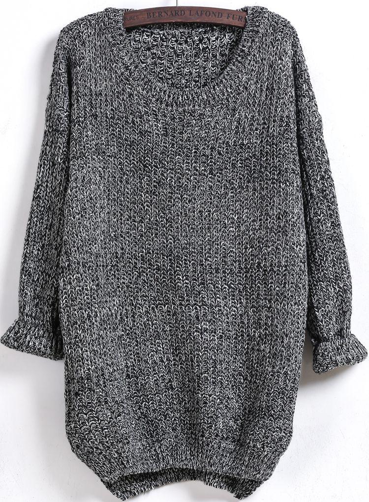 Dipped Hem Loose Knit Black Sweater | Fall/Winter Fashion ...