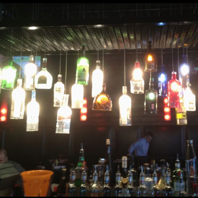 Cool bar lighting Counter Cool Bar Lighting Uses Old Empty Booze Bottles With The Bottom Knocked Out Pinterest Cool Bar Lighting Uses Old Empty Booze Bottles With The Bottom