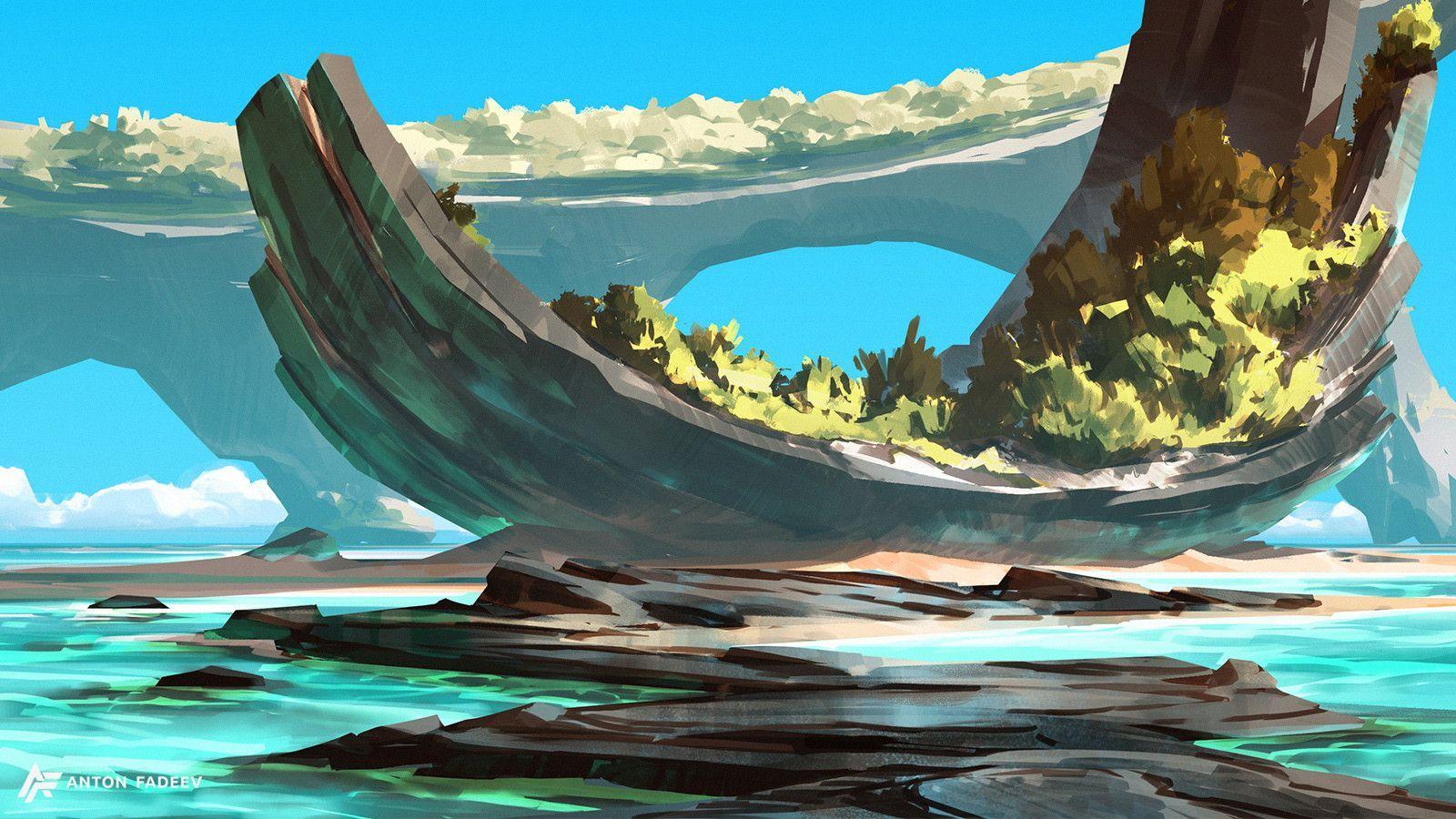 Artstation Sea Landscapes Anton Fadeev Fantasy Landscape Fantasy Concept Art Concept Art Drawing