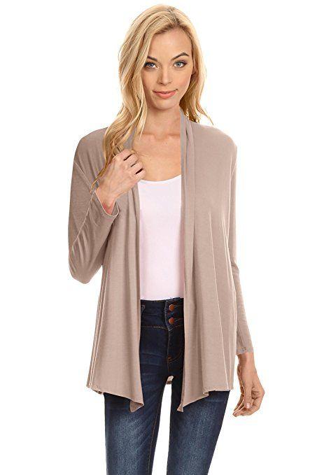 f8e56e06504206 Womens Open Drape Cardigan Reg and Plus Size Cardigan Sweater Long Sleeves  - USA at Amazon