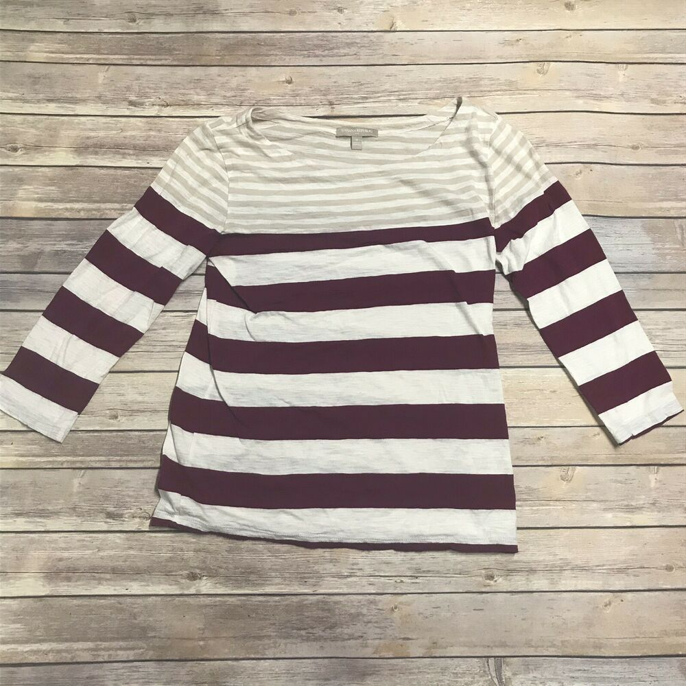 Banana Republic Womens Stripe Boatneck Top Shirt Medium