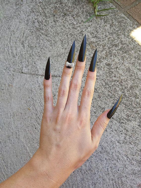 Super Long Black Beauty Nails Beauty Nails Stiletto Nails Sharp Nails