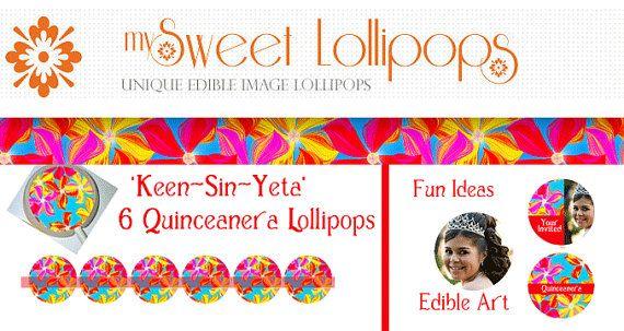 6 Quinceanera FIESTA Lollipops TM 1.25 Fun by MySweetLollipops, $14.50