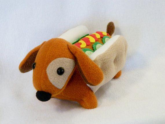 Stuffed Hot Dog Pickles Dachshund Plush Animal By Mamamayberrys