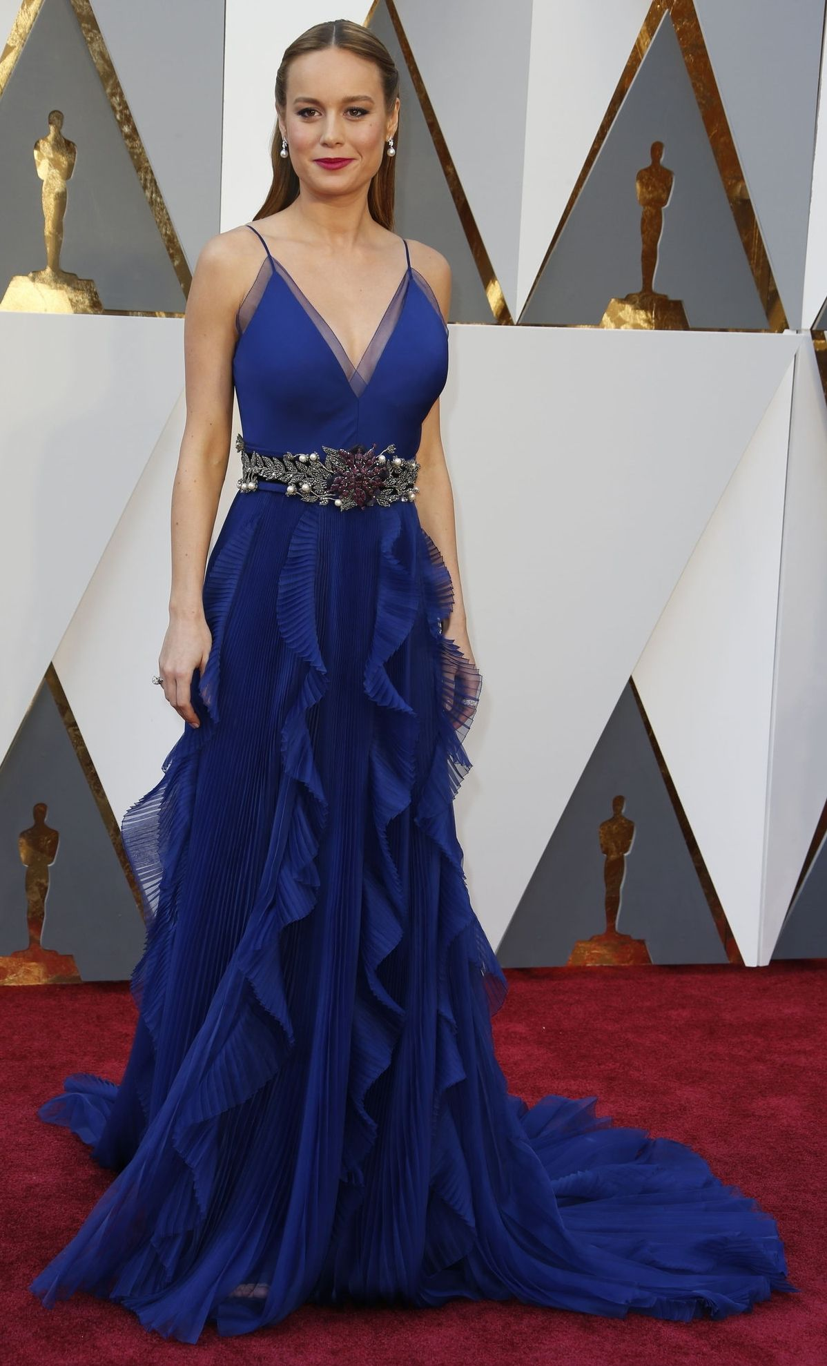 ae58546d7e3a Brie Larson in Gucci on the Oscars red carpet (Photo: Noel West for The New  York Times)