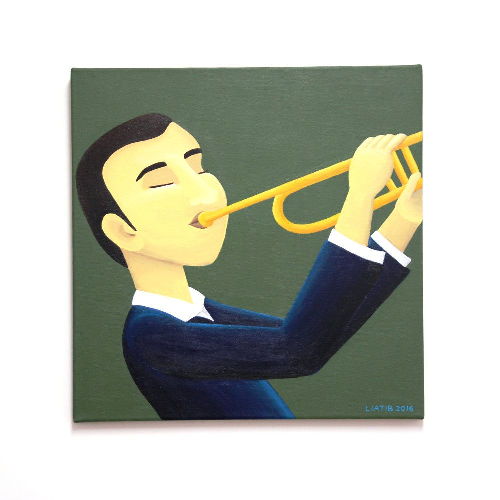 Trumpet player original painting on canvas great music lovers gift ...