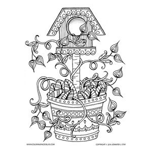 Birdhouse With Springtime Flowers Coloring Page
