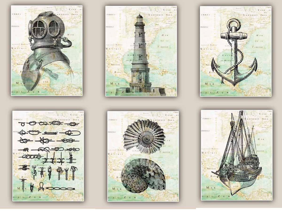 Prints For Wall Decor : Nautical art prints antique map east coast america set of