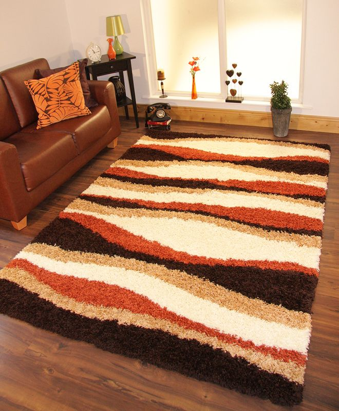 Shaggy Rug Thick Soft Warm Terracotta Burnt Orange Cream Brown Small Large  New