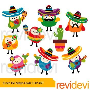 Cinco de mayo owls clip art set includes 8 cute owls and 1 cactus. Cute and fun graphics in bright colors. Just great for Mexican Fiesta projects!For more 5th May elements, check this setLink-Cinco de mayo clip artCinco de mayo is a celebration held on May 5th.