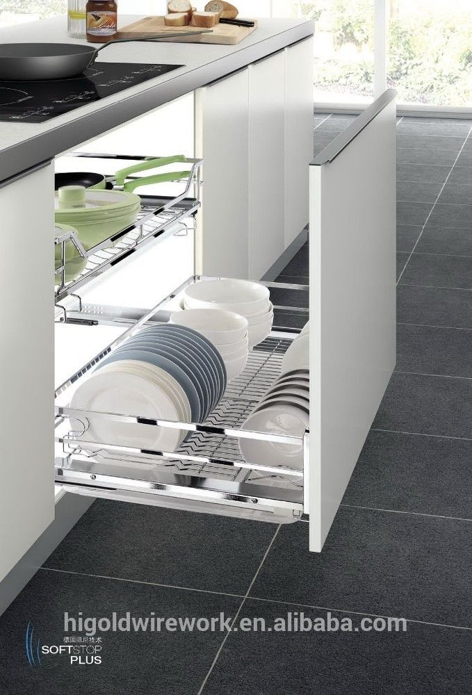This Not Two Drawers Dish Drying Rack On Bottom Slide