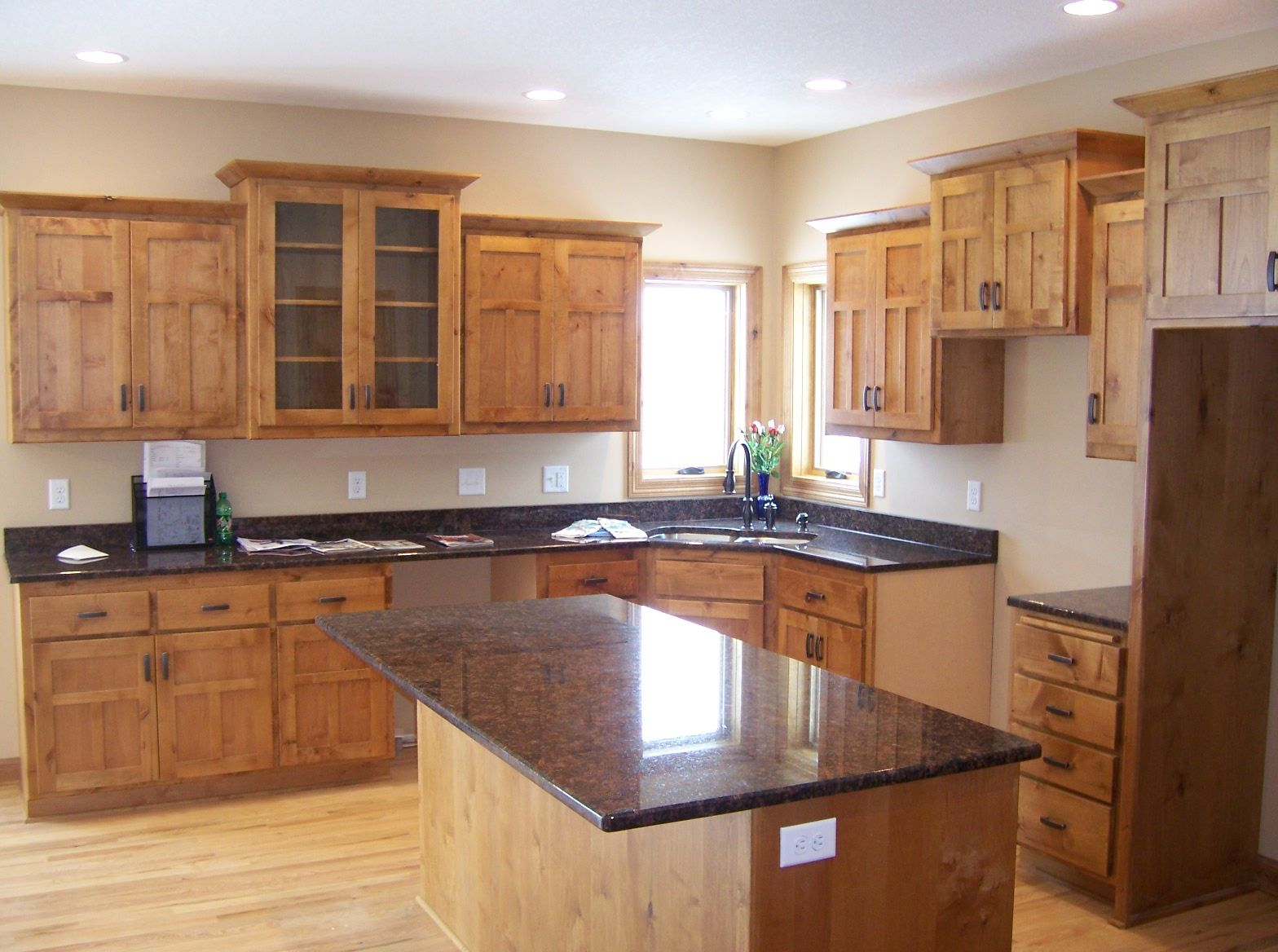 Cherry Maple And Knotty Alder Cabinetry In Flagstaff Lake House Kitchen Kitchen Cabinet Design Used Kitchen Cabinets