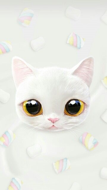 Sweet White Kitten Pastel Cat Artsy Cats Cute Wallpapers