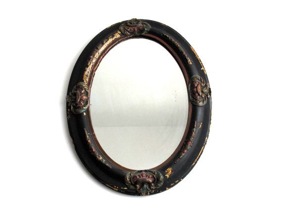 Antique Black Oval Mirror   Wood Frame Bathroom Mirrors With Gesso  Detailing   Large Wall Antique Mirrors Dimensions (inches): Inches Tall  Inches Wide ...