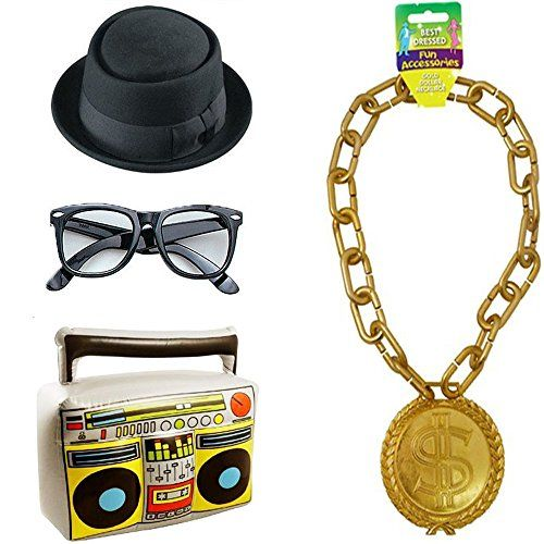 4fd991838f6 RUN DMC 80s Hip Hop Costume Kit. Inc. Hat
