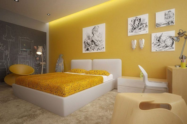 Gray And Yellow Bedroom Pinterest Teenage Girl Room Decor Round