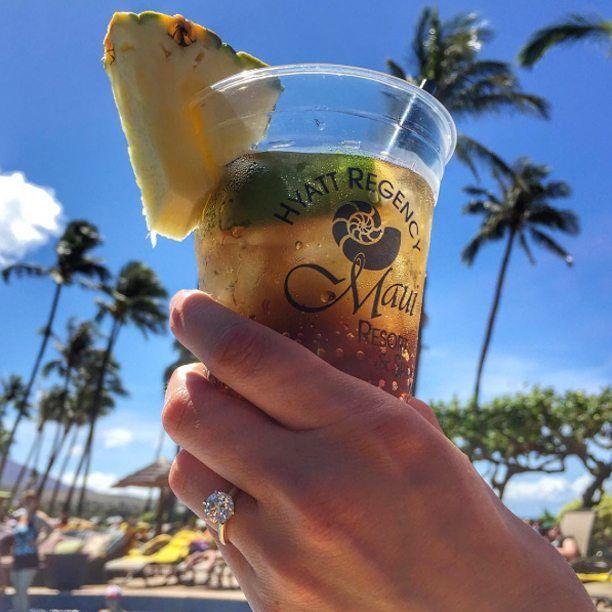 """Maui, Mai Tai, and my gorgeous #JamesAllen engagement ring!"" ~ @jessepluslauren…"