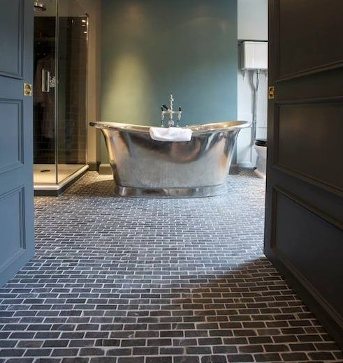 Brick Floor Tile Flooring In Modern Classic Bathroom Design