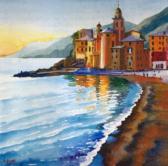 Tramonto, Camogli, Liguria, 2014, acquerello, Italia, Luba ...