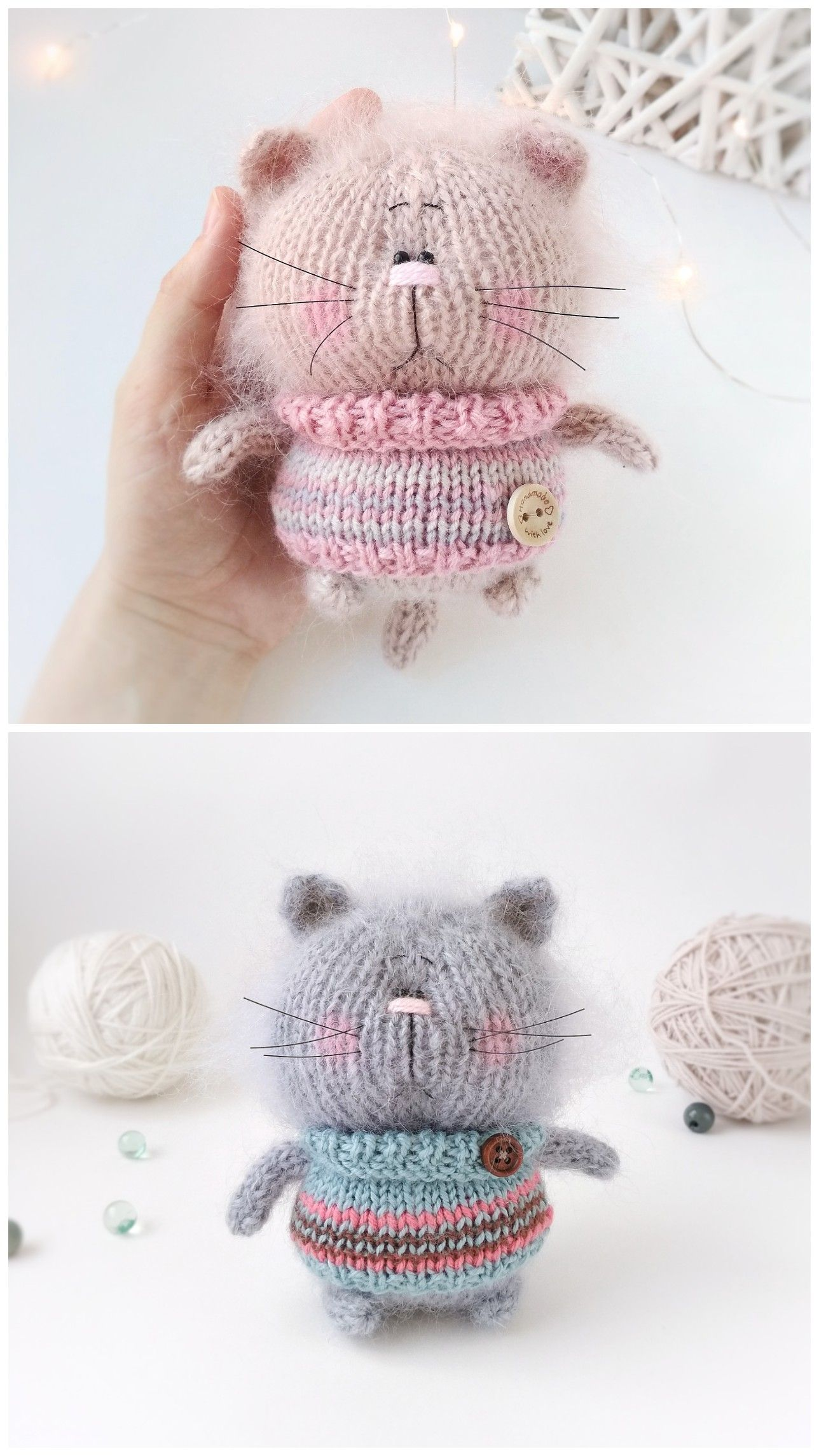 Cat knitting pattern in English Cute cat pattern Plush toy pattern Easy knit pdf Toy making tutorial