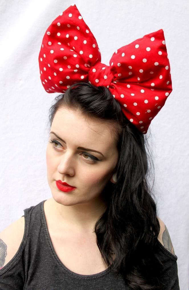 Red White Spotty Huge Big Hair Bow Hairstyles